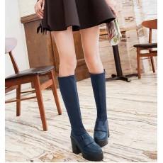 รองเท้าบูทยาว ส้นสูงแฟชั่นเกาหลีแบบสวมยืดหยุ่นเข้าทรงเรียวขา นำเข้า ไซส์34ถึง43 สีน้ำเงิน - พรีออเดอร์RB2278 ราคา1990บาท