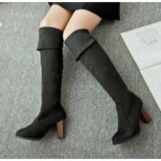 รองเท้าบูทยาว ส้นสูงแฟชั่นเกาหลีแบบสวมปิดหัวเข่าหรู นำเข้า ไซส์34ถึง43 สีดำ - พรีออเดอร์RB2286 ราคา1800บาท