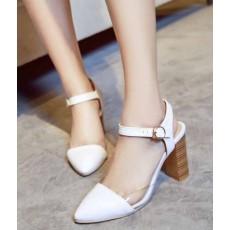 รองเท้าส้นสูง แฟชั่นเกาหลีหัวแหลมหนังใสสวยหรูรัดข้อใหม่ นำเข้า ไซส์34ถึง43 สีขาว - พรีออเดอร์RB2291 ราคา1350บาท