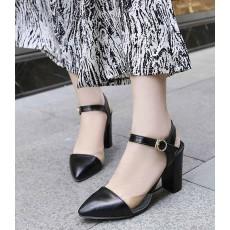 รองเท้าส้นสูง แฟชั่นเกาหลีหัวแหลมหนังใสสวยหรูรัดข้อใหม่ นำเข้า ไซส์34ถึง43 สีดำ - พรีออเดอร์RB2291 ราคา1350บาท