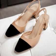 รองเท้าส้นสูง แฟชั่นเกาหลีหัวแหลมมีสายรัดส้นเท้าสวยใหม่ล่าสุด นำเข้า ไซส์33ถึง43 สีเบจ - พรีออเดอร์RB2295 ราคา1750บาท