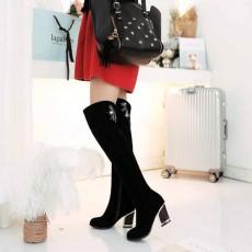 รองเท้าบูทยาว หนังกลับแท้แฟชั่นเกาหลีแต่งเพชรหรูหราใหม่ นำเข้า ไซส์34ถึง43 สีดำ - พรีออเดอร์RB2299 ราคา2450บาท