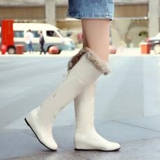 รองเท้าบูทยาว หนังมีขนเฟอร์แฟชั่นเกาหลีมีเชือกผูก นำเข้า ไซส์34ถึง43 สีครีม - พรีออเดอร์RB2300 ราคา2100บาท