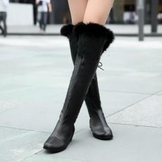 รองเท้าบูทยาว หนังมีขนเฟอร์แฟชั่นเกาหลีมีเชือกผูก นำเข้า ไซส์34ถึง43 สีดำ - พรีออเดอร์RB2300 ราคา2100บาท