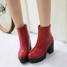 รองเท้าบูทสั้น หุ้มข้อแฟชั่นเกาหลีส้นสูงหนามีซิปสวมง่ายใหม่ นำเข้า ไซส์34ถึง43 สีแดง - พรีออเดอร์RB2301 ราคา1750บาท