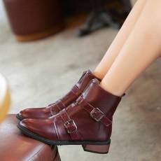รองเท้าบูทสั้น หุ้มข้อแฟชั่นเกาหลีแบบหนังแต่งหัวเข็มขัดอินเทรนด์ นำเข้า ไซส์33ถึง43 สีม่วง - พรีออเดอร์RB2305 ราคา2200บาท