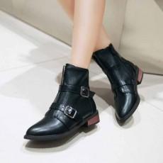 รองเท้าบูทสั้น หุ้มข้อแฟชั่นเกาหลีแบบหนังแต่งหัวเข็มขัดอินเทรนด์ นำเข้า ไซส์33ถึง43 สีดำ - พรีออเดอร์RB2305 ราคา2200บาท