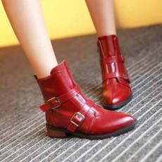 รองเท้าบูทสั้น หุ้มข้อแฟชั่นเกาหลีแบบหนังแต่งหัวเข็มขัดอินเทรนด์ นำเข้า ไซส์33ถึง43 สีแดง - พรีออเดอร์RB2305 ราคา2200บาท