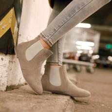 รองเท้าบูทสั้น หุ้มข้อแฟชั่นเกาหลีผู้หญิงหนังกลับหัวแหลมเท่ นำเข้า ไซส์34ถึง43 สีเทา - พรีออเดอร์RB2306 ราคา1990บาท