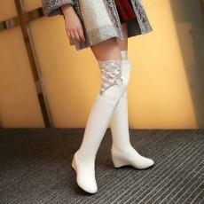 รองเท้าบูทยาว หนังส้นตึกแต่งลูกไม้สวยแบบเจ้าหญิงแฟชั่นเกาหลี นำเข้า ไซส์34ถึง43 สีขาว - พรีออเดอร์RB2308 ราคา1990บาท