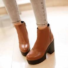 รองเท้าบูทสั้น หุ้มข้อส้นสูงเสริมหน้าเท้าแฟชั่นเกาหลีผู้หญิงใหม่ นำเข้า ไซส์34ถึง43 สีน้ำตาล - พรีออเดอร์RB2312 ราคา2250บาท