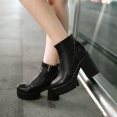 รองเท้าบูทสั้น หุ้มข้อส้นสูงเสริมหน้าเท้าแฟชั่นเกาหลีผู้หญิงใหม่ นำเข้า ไซส์34ถึง43 สีดำ - พรีออเดอร์RB2312 ราคา2250บาท