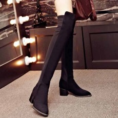 รองเท้าบูทยาว หัวแหลมสวยแฟชั่นเกาหลีแบบเข้ารูปพับได้สวยมาก นำเข้า ไซส์33ถึง43 สีดำ - พรีออเดอร์RB2313 ราคา2450บาท