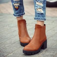 รองเท้าบูทสั้น หุ้มข้อส้นสูงมีพื้นหน้าเท้าแฟชั่นเกาหลีพื้นหยักใหม่ นำเข้า ไซส์34ถึง43 สีน้ำตาล - พรีออเดอร์RB2314 ราคา1950บาท