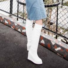 รองเท้าบูทยาว หนังส้นตึกสวยพื้นไม่ลื่นแฟชั่นเกาหลีน่ารัก นำเข้า ไซส์34ถึง43 สีขาว - พรีออเดอร์RB2315 ราคา1900บาท