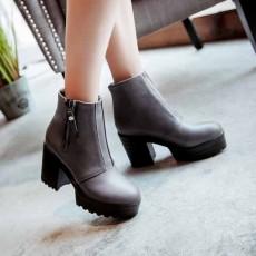 รองเท้าบูทสั้น หุ้มข้อส้นสูงมีพื้นหน้าเท้าแฟชั่นเกาหลีหนังเท่ นำเข้า ไซส์34ถึง43 สีเทา - พรีออเดอร์RB2316 ราคา1950บาท