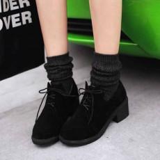 รองเท้าแคชชวล หนังกลับส้นเตี้ยกึ่งผ้าใบแฟชั่นเกาหลี นำเข้าไซส์34ถึง43 สีดำ - พรีออเดอร์RB2325 ราคา1750บาท