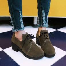 รองเท้าแคชชวล หนังกลับส้นเตี้ยกึ่งผ้าใบแฟชั่นเกาหลี นำเข้าไซส์34ถึง43 สีกาแฟ - พรีออเดอร์RB2325 ราคา1750บาท