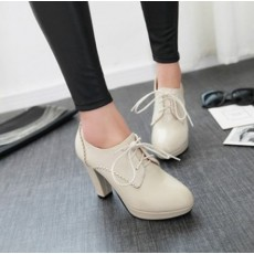 รองเท้าส้นสูง แฟชั่นเกาหลีหัวแหลมหุ้มส้นเท้ามีเชือกผูก นำเข้า ไซส์33ถึง44 สีเบจ - พรีออเดอร์RB2327 ราคา1950บาท