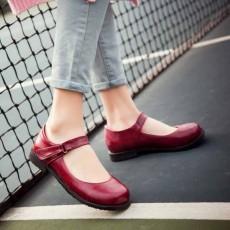 รองเท้าส้นเตี้ย เพื่อสุขภาพเท้าที่ดีแฟชั่นเกาหลีคัทชูหนังใหม่ นำเข้าไซส์33ถึง43 สีแดง - พรีออเดอร์RB2330 ราคา1800บาท