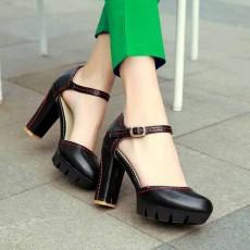 รองเท้าส้นสูง แฟชั่นเกาหลีหุ้มส้นพื้นหยักหนาเสริมหน้าเท้า นำเข้า ไซส์33ถึง43 สีดำ - พรีออเดอร์RB2331 ราคา1950บาท