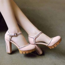 รองเท้าส้นสูง แฟชั่นเกาหลีหุ้มส้นพื้นหยักหนาเสริมหน้าเท้า นำเข้า ไซส์33ถึง43 สีชมพู - พรีออเดอร์RB2331 ราคา1950บาท