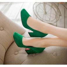 รองเท้าส้นสูง แฟชั่นเกาหลีหุ้มส้นหนังกลับคัทชูสตรีใส่สบาย นำเข้า ไซส์33ถึง43 สีเขียว - พรีออเดอร์RB2332 ราคา1950บาท