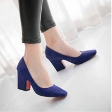 รองเท้าส้นสูง แฟชั่นเกาหลีหุ้มส้นหนังกลับคัทชูสตรีใส่สบาย นำเข้า ไซส์33ถึง43 สีน้ำเงิน - พรีออเดอร์RB2332 ราคา1950บาท