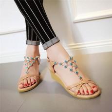 รองเท้าแตะหนังแท้ ส้นเตี้ยแต่งคริสตัลมีสายรัดส้นแฟชั่นเกาหลี นำเข้า ไซส์34ถึง39 สีครีม - พรีออเดอร์RB2334 ราคา1880บาท