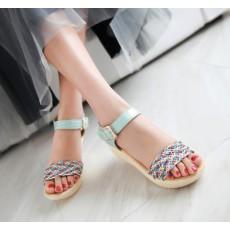 รองเท้าส้นเตารีด มีสายรัดส้นแฟชั่นเกาหลีดีไซน์หนังสานน่ารัก นำเข้า ไซส์34ถึง39 สีฟ้า - พรีออเดอร์RB2335 ราคา1770บาท