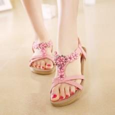 รองเท้าแตะหนังแท้ ส้นเตี้ยดอกไม้คริสตัลมีสายรัดส้นแฟชั่นเกาหลี นำเข้า ไซส์35ถึง41 สีชมพู - พรีออเดอร์RB2336 ราคา1880บาท
