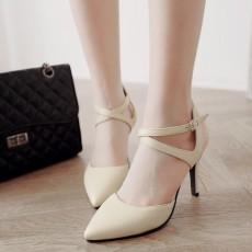 รองเท้าส้นสูง แฟชั่นเกาหลีหัวแหลมสายไขว้รัดข้อเท้า นำเข้า ไซส์33ถึง43 สีครีม - พรีออเดอร์RB2337 ราคา1850บาท