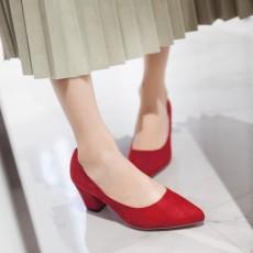 รองเท้าส้นสูง แฟชั่นเกาหลีหุ้มส้นหนังกลับคัทชูสตรีใส่ทำงาน นำเข้า ไซส์33ถึง43 สีแดง - พรีออเดอร์RB2339 ราคา1850บาท