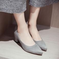 รองเท้าส้นสูง แฟชั่นเกาหลีหุ้มส้นหนังกลับคัทชูสตรีใส่ทำงาน นำเข้า ไซส์33ถึง43 สีเทา - พรีออเดอร์RB2339 ราคา1850บาท