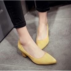 รองเท้าส้นสูง แฟชั่นเกาหลีหุ้มส้นหนังกลับคัทชูสตรีใส่ทำงาน นำเข้า ไซส์33ถึง43 สีเหลือง - พรีออเดอร์RB2339 ราคา1850บาท