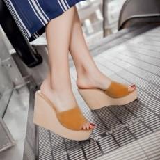 รองเท้าส้นสูง แฟชั่นเกาหลีหนังกลับสวมเปิดส้นเตารีดตึกหนา นำเข้าไซส์34ถึง43 สีเหลือง - พรีออเดอร์RB2340 ราคา1850บาท