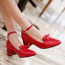 รองเท้าส้นสูง แฟชั่นเกาหลีหุ้มส้นหนังแก้วมีโบว์ผู้หญิงทำงาน นำเข้า ไซส์33ถึง43 สีแดง - พรีออเดอร์RB2342 ราคา1750บาท
