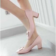 รองเท้าส้นสูง แฟชั่นเกาหลีหุ้มส้นหนังแต่งคริสตัลสวมสบาย นำเข้า ไซส์33ถึง43 สีชมพู - พรีออเดอร์RB2344 ราคา1750บาท