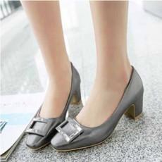 รองเท้าส้นสูง แฟชั่นเกาหลีหุ้มส้นหนังแต่งคริสตัลสวมสบาย นำเข้า ไซส์33ถึง43 สีเทา - พรีออเดอร์RB2344 ราคา1750บาท