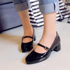 รองเท้าส้นสูง แฟชั่นเกาหลีหุ้มส้นสายหนังรัดหลังเท้าสวมสบาย นำเข้า ไซส์33ถึง43 สีดำ - พรีออเดอร์RB2345 ราคา1750บาท