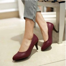 รองเท้าส้นสูง แฟชั่นเกาหลีหุ้มส้นหนังคัทชูผู้หญิงใส่ทำงาน นำเข้า ไซส์33ถึง43 สีแดงเข้ม - พรีออเดอร์RB2348 ราคา1850บาท