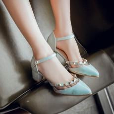 รองเท้าส้นสูง แฟชั่นเกาหลีหัวแหลมแต่งหมุดสไตล์แบรนด์เนม นำเข้า ไซส์34ถึง39 สีฟ้า - พรีออเดอร์RB2351 ราคา1850บาท