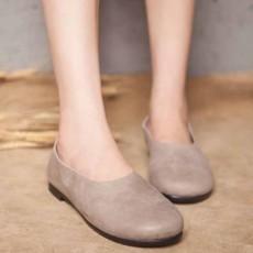รองเท้าหนังแท้เพื่อสุขภาพ แฟชั่นเกาหลีส้นแบนหัวมนสวมสบาย นำเข้า ไซส์35ถึง40 สีครีม - พรีออเดอร์RB2355 ราคา2850บาท