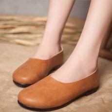 รองเท้าหนังแท้เพื่อสุขภาพ แฟชั่นเกาหลีส้นแบนหัวมนสวมสบาย นำเข้า ไซส์35ถึง40 สีน้ำตาล - พรีออเดอร์RB2355 ราคา2850บาท
