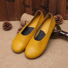 รองเท้าหนังแท้เพื่อสุขภาพ แฟชั่นเกาหลีส้นแบนหัวมนสวมสบาย นำเข้า ไซส์35ถึง40 สีเหลือง - พรีออเดอร์RB2355 ราคา2850บาท