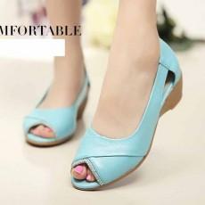 รองเท้าหนังแท้เพื่อสุขภาพ แฟชั่นเกาหลีแต่งคริสตัลหรูแบบใหม่ นำเข้า ไซส์35ถึง40 สีฟ้า - พรีออเดอร์RB2356 ราคา2500บาท