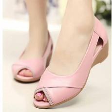 รองเท้าหนังแท้เพื่อสุขภาพ แฟชั่นเกาหลีแต่งคริสตัลหรูแบบใหม่ นำเข้า ไซส์35ถึง40 สีชมพู - พรีออเดอร์RB2356 ราคา2500บาท