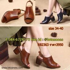 รองเท้าหนังแท้แฮนเมดวินเทจส้นสูงมีสายรัดจากเกาหลีแท้คลาสสิก นำเข้า 34-40 พรีออเดอร์RB2363 ราคา3950บาท