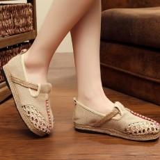 รองเท้าเพื่อสุขภาพ แฟชั่นเกาหลีผ้าลินินทอมือนุ่มสบาย นำเข้า ไซส์35ถึง40 สีครีม - พรีออเดอร์RB2364 ราคา1500บาท