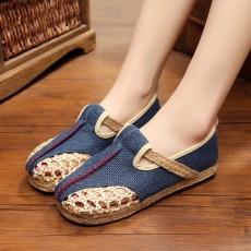 รองเท้าเพื่อสุขภาพ แฟชั่นเกาหลีผ้าลินินทอมือนุ่มสบาย นำเข้า ไซส์35ถึง40 สีน้ำเงิน - พรีออเดอร์RB2364 ราคา1500บาท